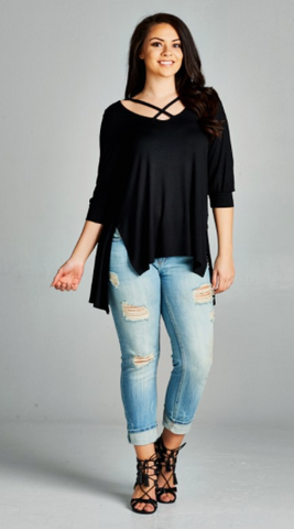 Plus Size Strappy Hi-Low Tunic Top with 3/4 Cuffed Sleeves and Side Slits