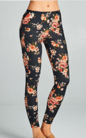 COLORFUL FLORAL PRINT POLY SPANDEX BRUSHED SOFT AND COZY LEGGINGS