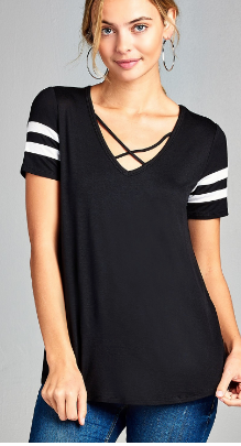 Double Stripe V-Neck