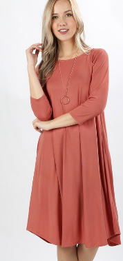Rachel 3/4 Sleeve Rose Knee Length Dress