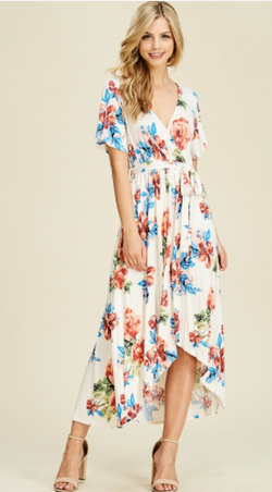 FELICIA HI LOW WRAP FRONT FLORAL PRINTED MAXI DRESS
