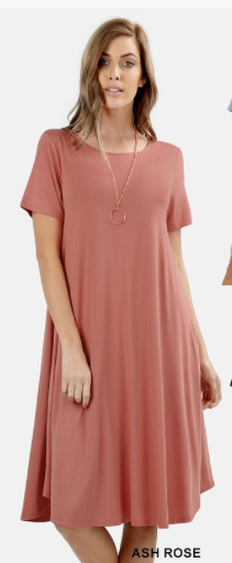 Raylene Short Sleeve Round Neck dress in Ash Rose Plus Size Great for Bridesmaids too