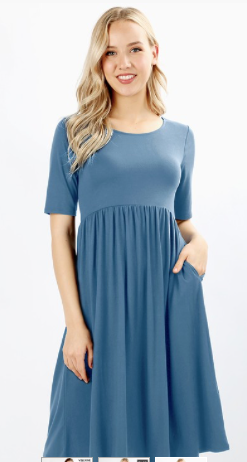SALLY ROUND NECK DRESS WITH WAIST SHIRRING BODY AND POCKETS PLUS SIZE