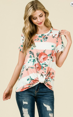 Blush Striped Floral Print Top