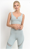 Mint Wide Scallop Sports Bra /Workout Top