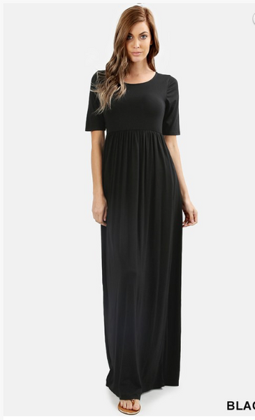 Maxi Dress Solid in Black and Eggplant. Great for Bridesmaids. Comes in S-XL