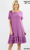 ROUND NECK RUFFLE HEM DRESS WITH POCKETS COMES IN S-3X