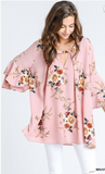 Floral Print Tunic Top in Ivory and Mauve Mix