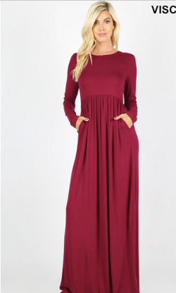 Long Sleeve Round Neck Maxi Dress -Burgundy and Black