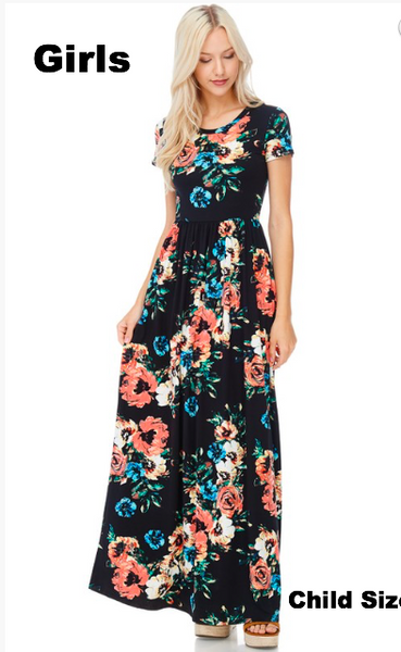 Girls Maxi Dress Floral- matches Women's. Great for Bridesmaids or Flower Girls
