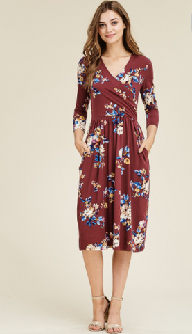 Austin 3/4 Sleeve Floral Dress- Wine