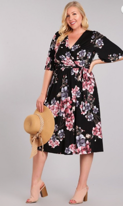 Gloria- Wrap Floral Midi Dress-Black- Plus Size