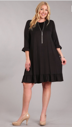 Bethany Black Knit Dress- Plus Size