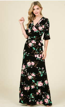 Francesca Wrap Maxi Floral Dress- Black and Ivory