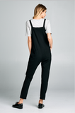 Adjustable strap Overall Jumpsuit.  Comfy and perfect for any Season- Black