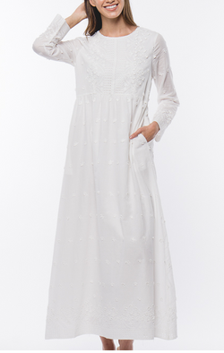 Jasmine Embroidered Temple/ Wedding Dress with Pockets