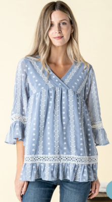 EMBROIDERED RUFFLED HEM TOP