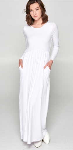Melinda White Temple Dress with Pockets-LDS