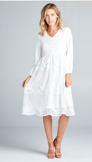 Steffani White Midi Lace Dress