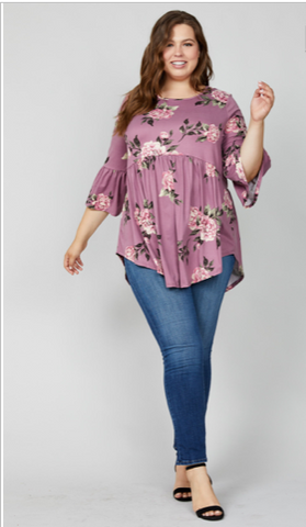 Floral peplum top with ruffle sleeves-Plus Size Wine
