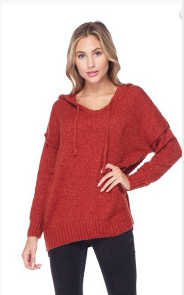 Rust Orange Long Sleeve Boho Textured Slub Hoodie Sweater