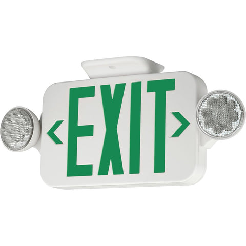 LED Combination Exit/Emergency Light - Green Letters