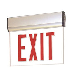 LED Edge-Lit Exit Sign with Adjustable Housing, Battery Backup - Single Face, Red Letters