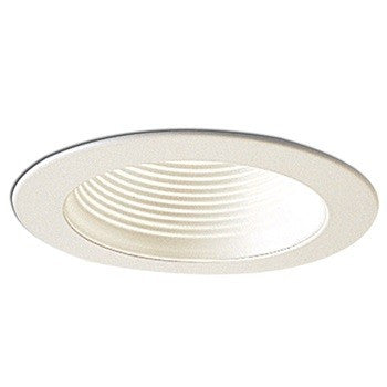 "4"" White Stepped Baffle with White Metal Ring"