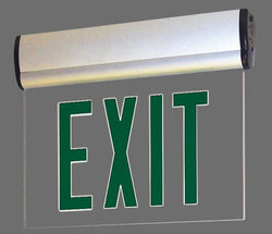 LED Edge-Lit Exit Sign with Adjustable Housing, Battery Backup - Single Face, Green Letters