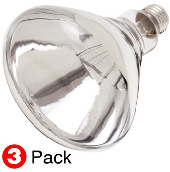 Satco S4758 250W BR40 Clear Heat Shatter Proof Incandescent Bulb - 3 Pack