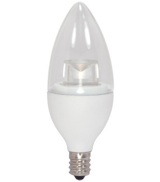 Satco S9618 5W Candle Clear LED Bulb