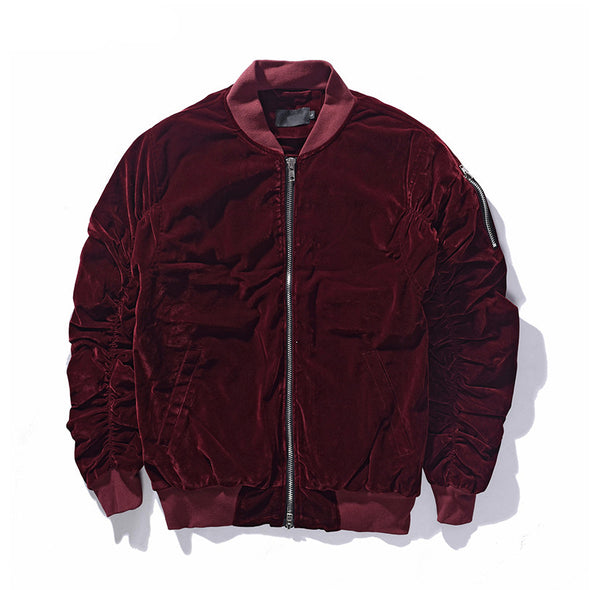 Velvet Status Bomber Jacket Red Wine