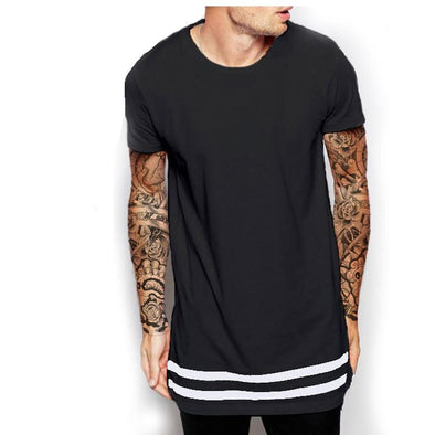 Striped Extended T-shirt Black