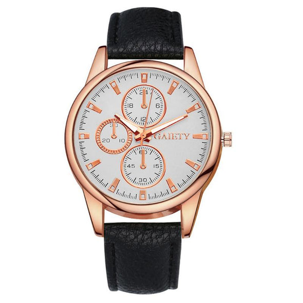 Rose Gold Leather Strap Watches