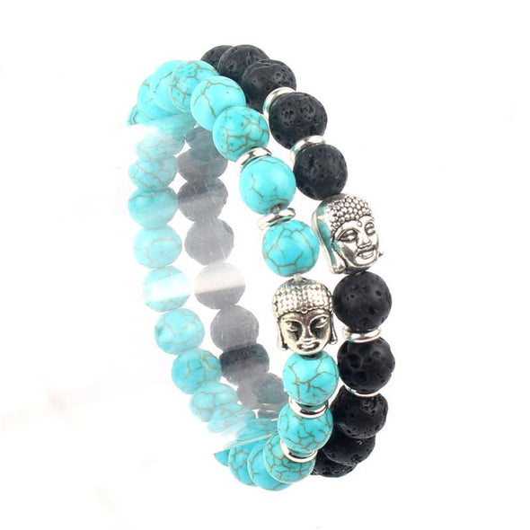 Pair of Buddha Charm Natural Stone Bracelets