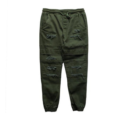 Status Destroyed Denim Joggers Green