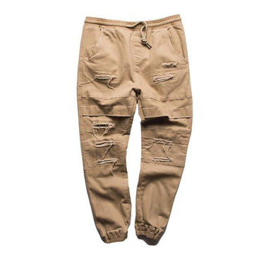 Status Destroyed Denim Joggers Khaki