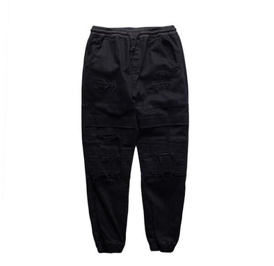 Status Destroyed Denim Joggers Black