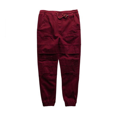 Status Destroyed Denim Joggers Red