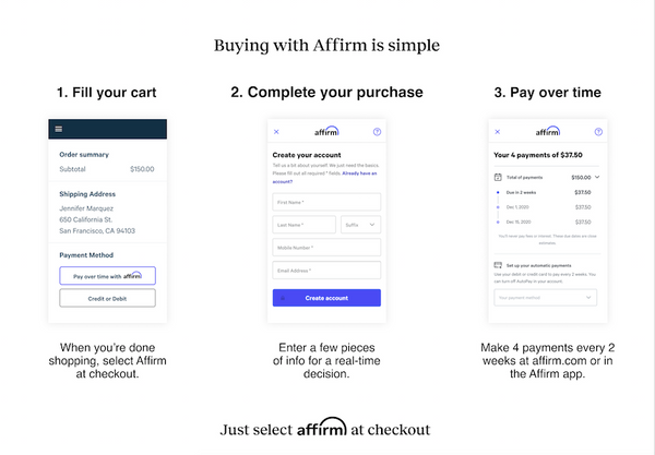 How to buy with affirm at In Fine Feather Boutique