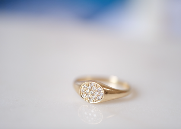 Baby Signet Pave Ring
