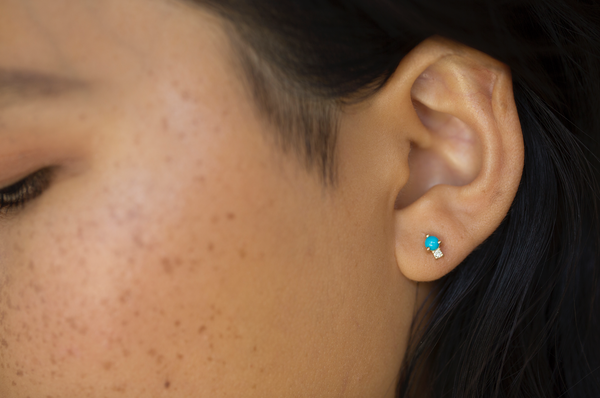 Sibling Earring (Turquoise + White Diamond) | Ready To Ship