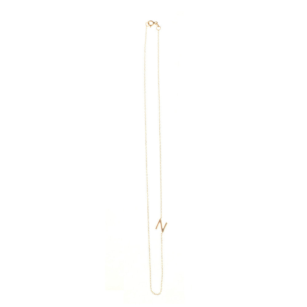 "Asymmetrical Letter Necklace ""N"""