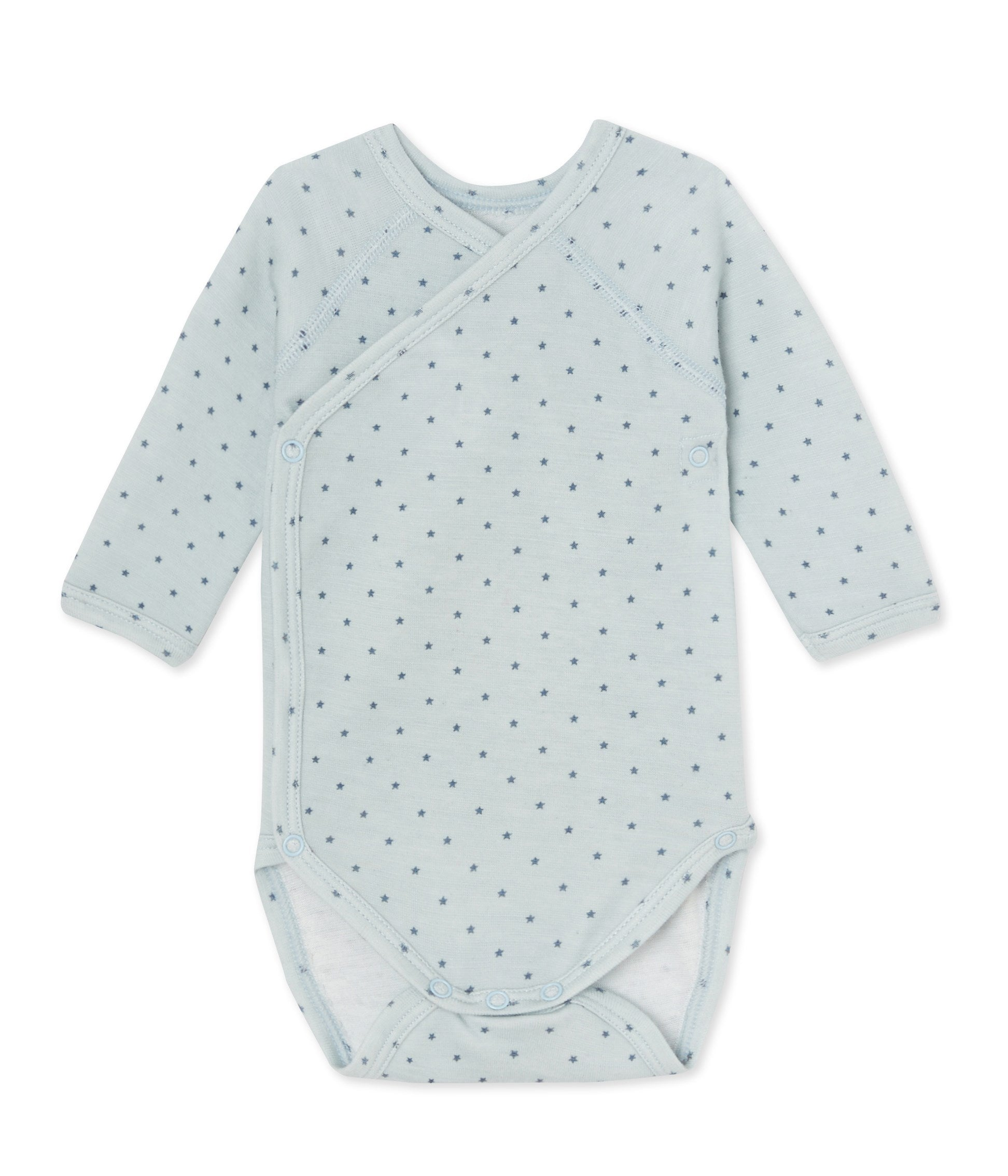 NEWBORN BABY BOYS' LONG-SLEEVED BODYSUIT IN WOOL AND COTTON