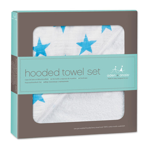 Hooded Towel Set Fluro Blue