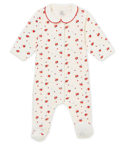 Baby Girl's Sleepsuit In Brushed Print Soft Cotton