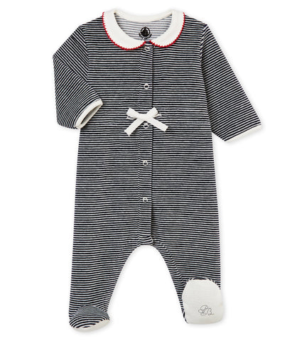 Baby Girl's Sleepsuit With Iconic Stripes