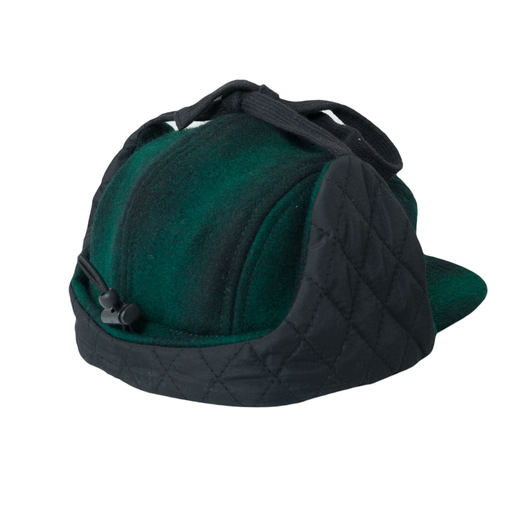 WOOL 5 PANEL W. EARS - GREEN/BLACK