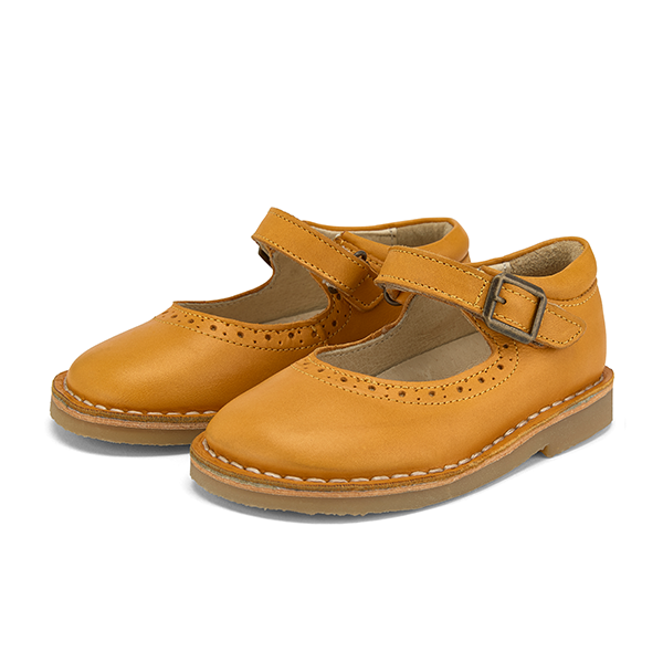 Martha Velcro Mary Jane Shoes Mustrard Leather | CHILD