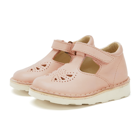 Poppy Velcro T-bar Shoes Nude Pink Leather | BABY